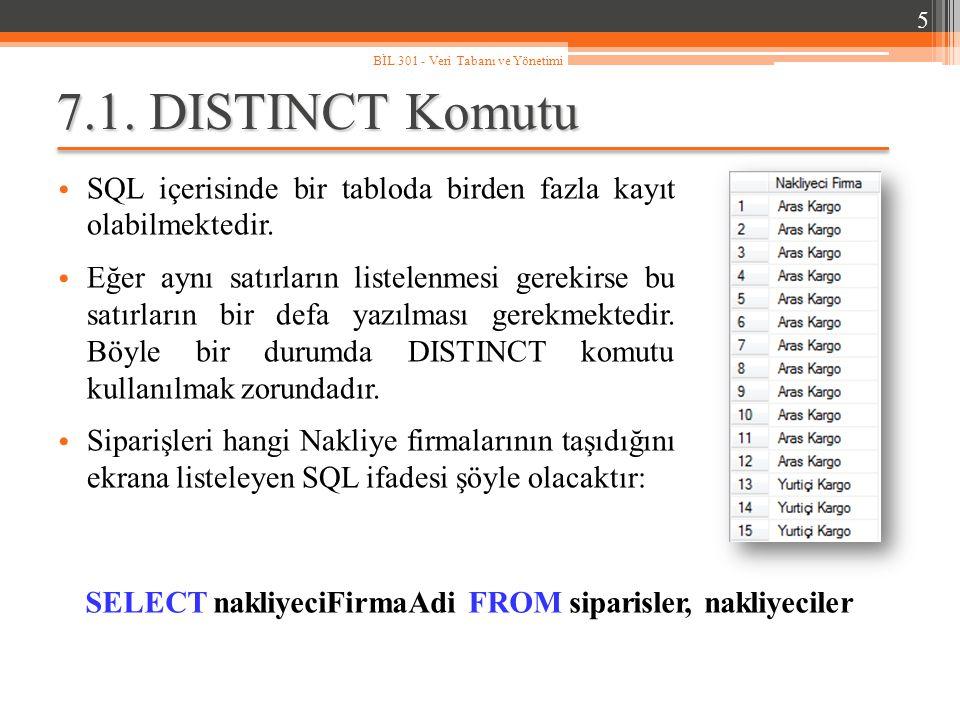 7.1.DISTINCT Komutu SQL içerisinde bir tabloda birden fazla kayıt olabilmektedir.