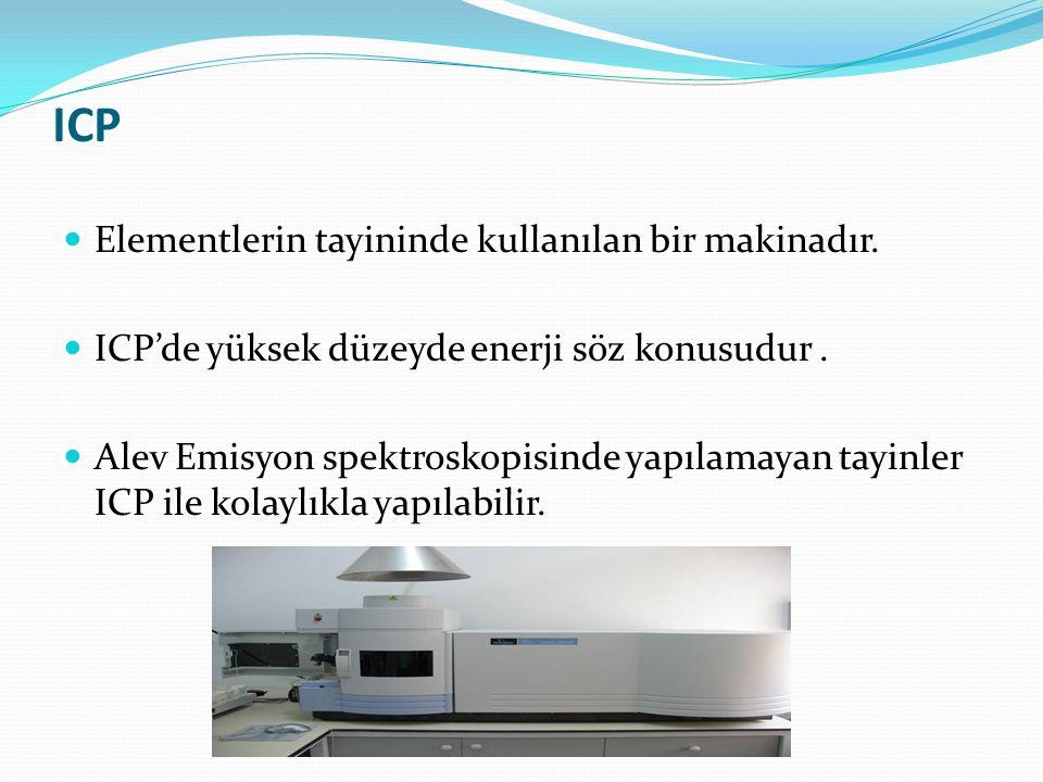 ICP Elementlerin tayininde kullanılan bir makinadır. ICP'de yüksek düzeyde enerji söz konusudur. Alev Emisyon spektroskopisinde yapılamayan tayinler I