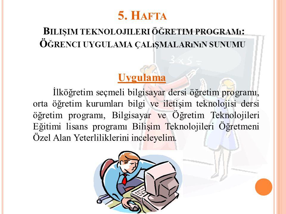 5. H AFTA B ILIŞIM TEKNOLOJILERI ÖĞRETIM PROGRAMı : Ö ĞRENCI UYGULAMA ÇALıŞMALARıNıN SUNUMU Uygulama İlköğretim seçmeli bilgisayar dersi öğretim progr