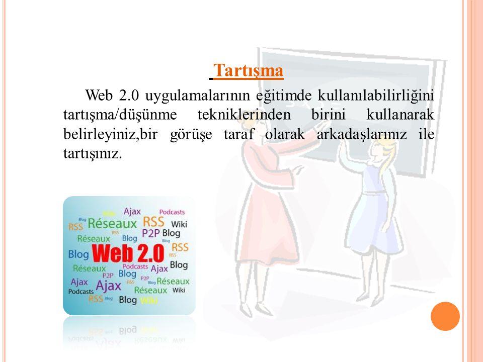 Tartışma Web 2.0 uygulamalarının eğitimde kullanılabilirliğini tartışma/düşünme tekniklerinden birini kullanarak belirleyiniz,bir görüşe taraf olarak