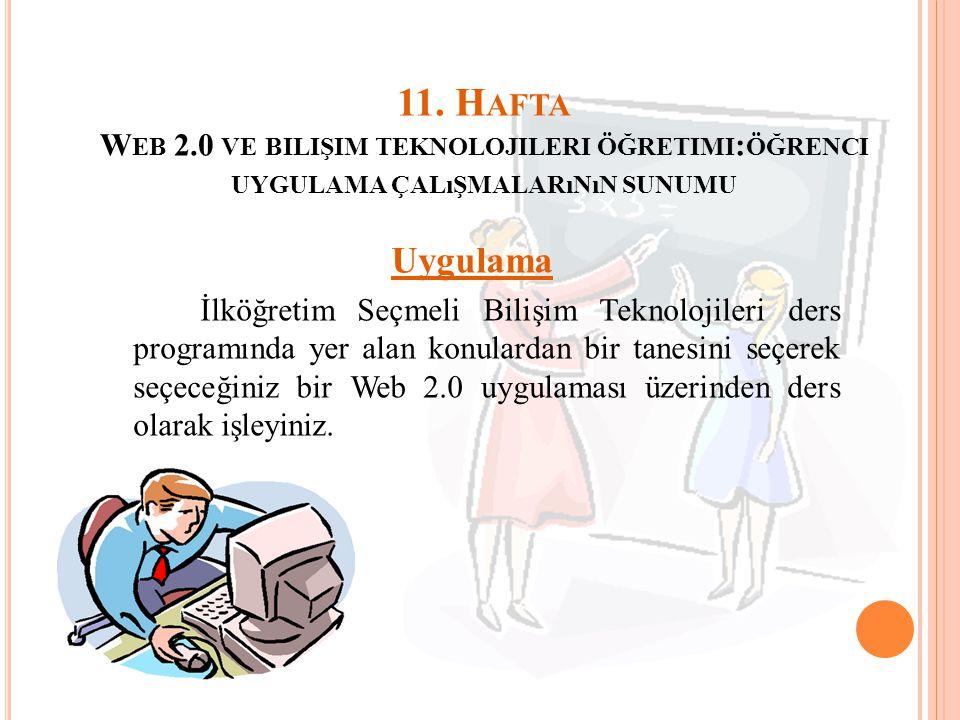 11. H AFTA W EB 2.0 VE BILIŞIM TEKNOLOJILERI ÖĞRETIMI : ÖĞRENCI UYGULAMA ÇALıŞMALARıNıN SUNUMU Uygulama İlköğretim Seçmeli Bilişim Teknolojileri ders