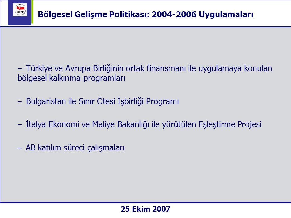  Uygulamada bütüncüllük: stratejik çerçeve (öUKP)  Çok Yıllı Programlama: n+2  Kurumsal Çerçeve: faydalanıcı - DPT, uygulamadan sorumlu birim – PUB nihai faydalanıcı – yerel yönetimler, STK, KOBİ  Ortaklık: yönlendirme ve yürütme komiteleri, protokoller 25 Ekim 2007 Bölgesel Gelişme Politikası: 2004-2006 Uygulamaları