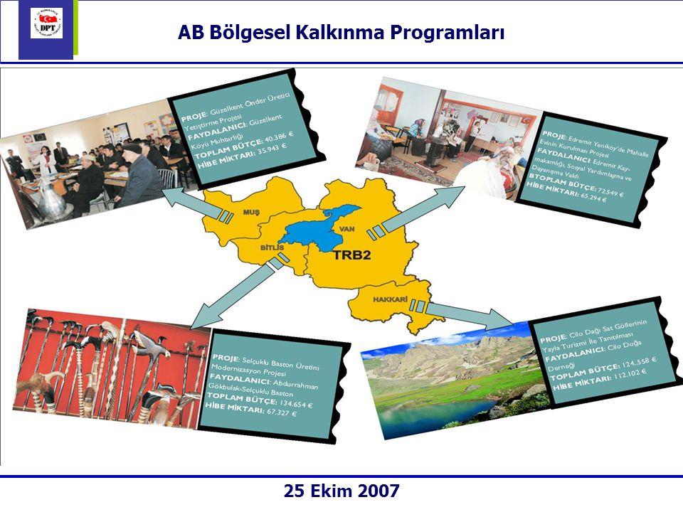 AB Bölgesel Kalkınma Programları Genel:  33 il için toplam 212 milyon Avro kaynak kullanılmaktadır.