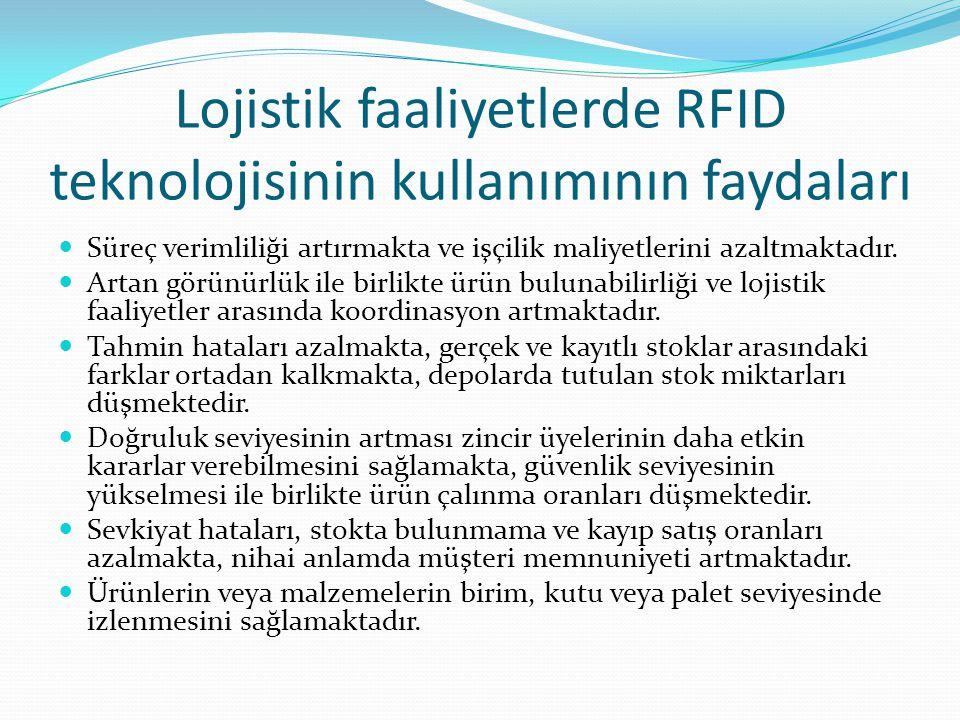 Lojistik faaliyetlerde RFID teknolojisinin kullanımının faydaları Süreç verimliliği artırmakta ve işçilik maliyetlerini azaltmaktadır. Artan görünürlü
