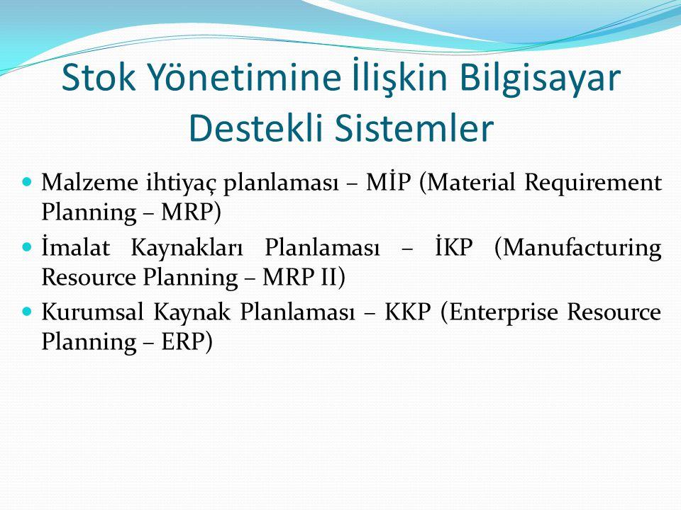 Stok Yönetimine İlişkin Bilgisayar Destekli Sistemler Malzeme ihtiyaç planlaması – MİP (Material Requirement Planning – MRP) İmalat Kaynakları Planlam