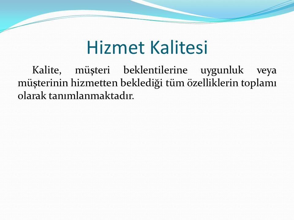 Hizmet Kalitesi Kalite, müşteri beklentilerine uygunluk veya müşterinin hizmetten beklediği tüm özelliklerin toplamı olarak tanımlanmaktadır.