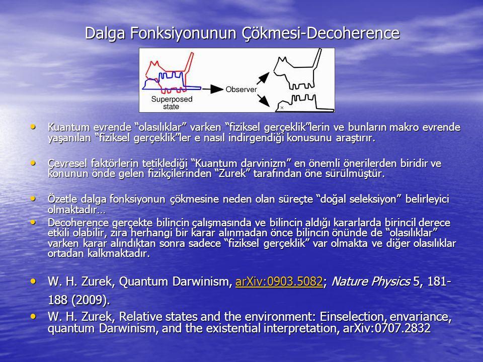 """Dalga Fonksiyonunun Çökmesi-Decoherence Kuantum evrende """"olasılıklar"""" varken """"fiziksel gerçeklik""""lerin ve bunların makro evrende yaşanılan """"fiziksel g"""