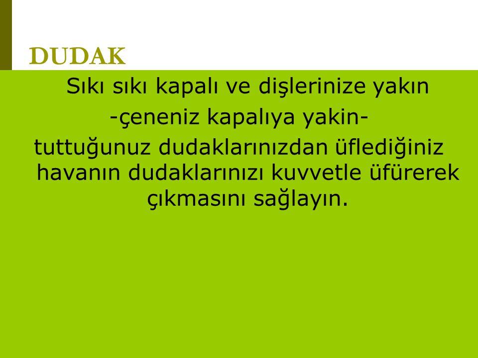 www.turkceciler.com DUDAK Sıkı sıkı kapalı ve dişlerinize yakın -çeneniz kapalıya yakin- tuttuğunuz dudaklarınızdan üflediğiniz havanın dudaklarınızı