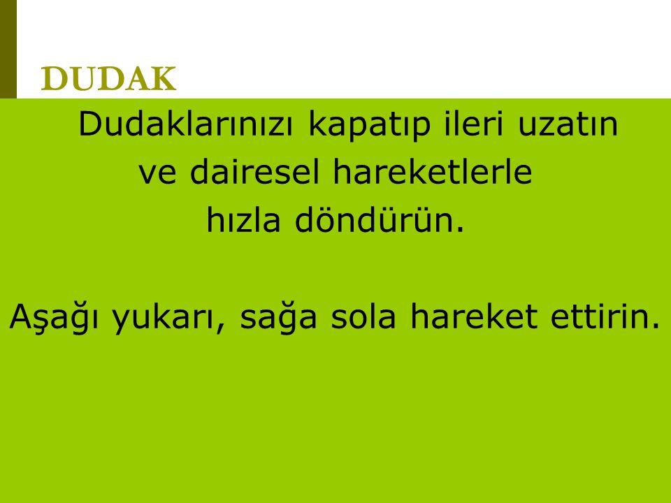 www.turkceciler.com DUDAK Dudaklarınızı kapatıp ileri uzatın ve dairesel hareketlerle hızla döndürün. Aşağı yukarı, sağa sola hareket ettirin.