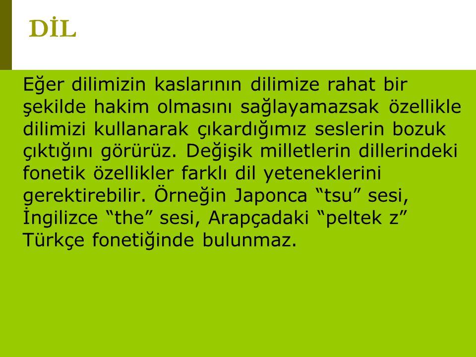 www.turkceciler.com Eğer dilimizin kaslarının dilimize rahat bir şekilde hakim olmasını sağlayamazsak özellikle dilimizi kullanarak çıkardığımız sesle