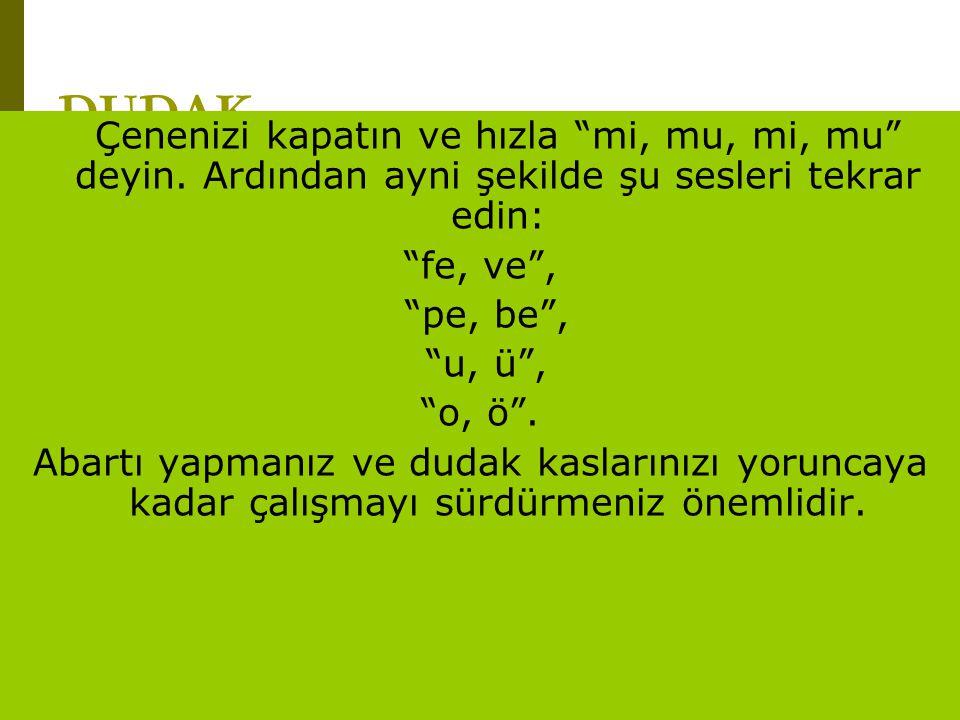 """www.turkceciler.com DUDAK Çenenizi kapatın ve hızla """"mi, mu, mi, mu"""" deyin. Ardından ayni şekilde şu sesleri tekrar edin: """"fe, ve"""", """"pe, be"""", """"u, ü"""","""
