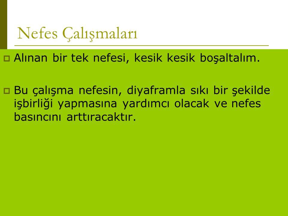 www.turkceciler.com Nefes Çalışmaları  Alınan bir tek nefesi, kesik kesik boşaltalım.  Bu çalışma nefesin, diyaframla sıkı bir şekilde işbirliği yap