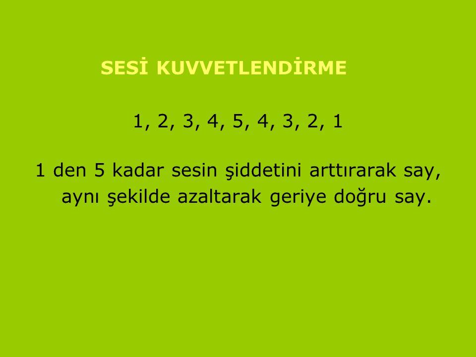 www.turkceciler.com SESİ KUVVETLENDİRME 1, 2, 3, 4, 5, 4, 3, 2, 1 1 den 5 kadar sesin şiddetini arttırarak say, aynı şekilde azaltarak geriye doğru sa
