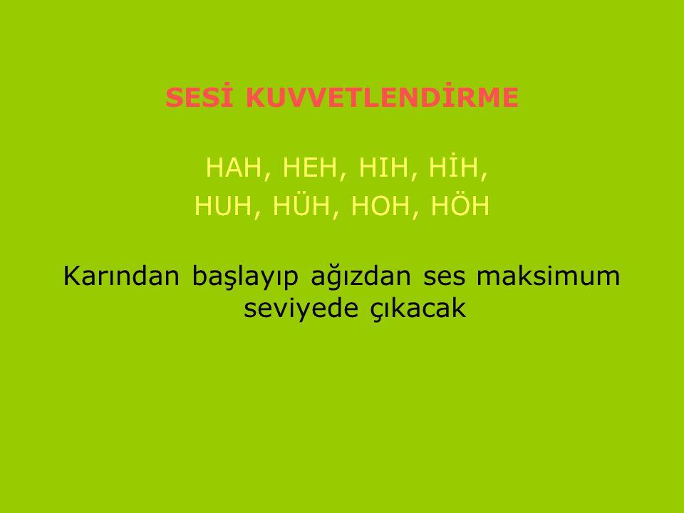 www.turkceciler.com SESİ KUVVETLENDİRME HAH, HEH, HIH, HİH, HUH, HÜH, HOH, HÖH Karından başlayıp ağızdan ses maksimum seviyede çıkacak