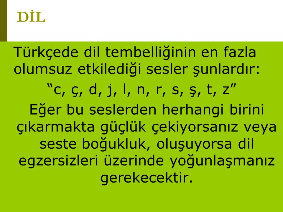 """www.turkceciler.com Türkçede dil tembelliğinin en fazla olumsuz etkilediği sesler şunlardır: """"c, ç, d, j, l, n, r, s, ş, t, z"""" Eğer bu seslerden herha"""
