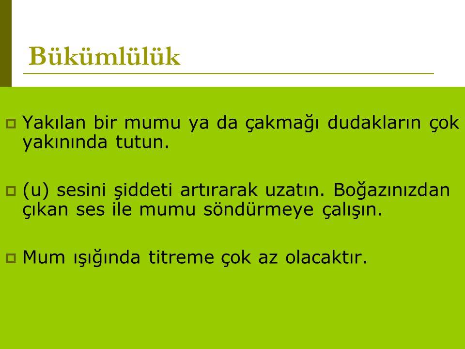 www.turkceciler.com  Yakılan bir mumu ya da çakmağı dudakların çok yakınında tutun.  (u) sesini şiddeti artırarak uzatın. Boğazınızdan çıkan ses ile
