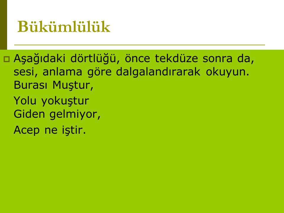 www.turkceciler.com  Aşağıdaki dörtlüğü, önce tekdüze sonra da, sesi, anlama göre dalgalandırarak okuyun. Burası Muştur, Yolu yokuştur Giden gelmiyor