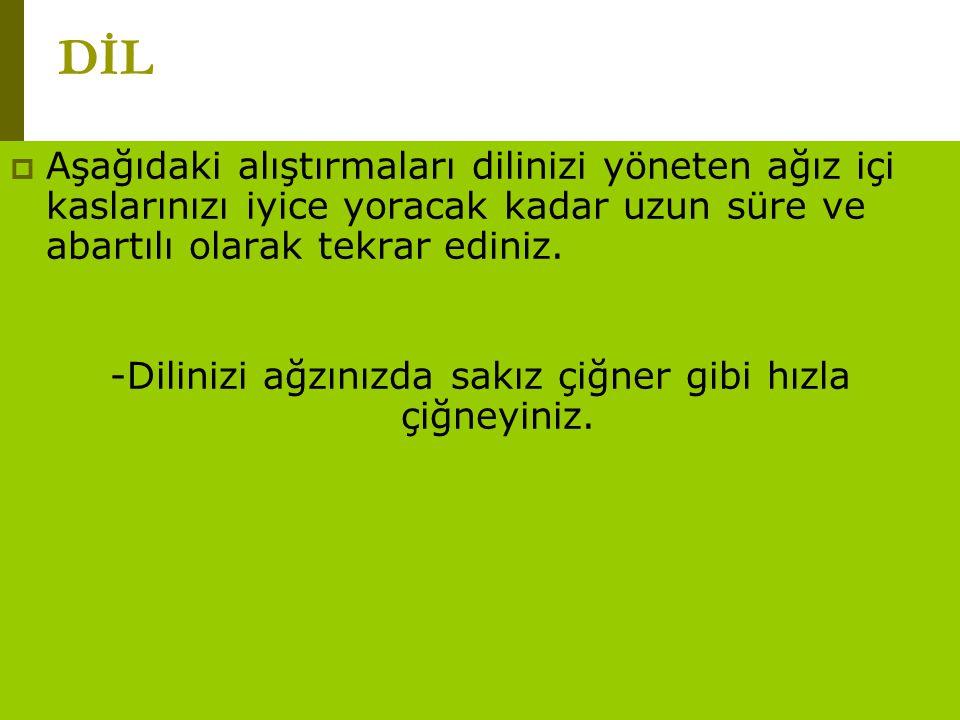 www.turkceciler.com  Aşağıdaki alıştırmaları dilinizi yöneten ağız içi kaslarınızı iyice yoracak kadar uzun süre ve abartılı olarak tekrar ediniz. -D