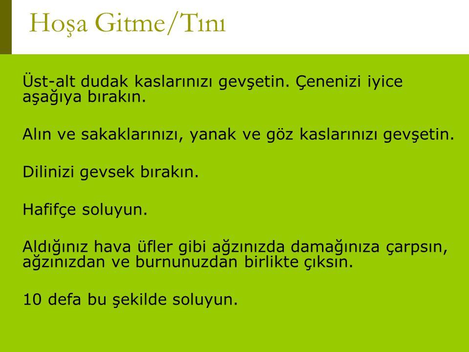 www.turkceciler.com Üst-alt dudak kaslarınızı gevşetin. Çenenizi iyice aşağıya bırakın. Alın ve sakaklarınızı, yanak ve göz kaslarınızı gevşetin. Dili
