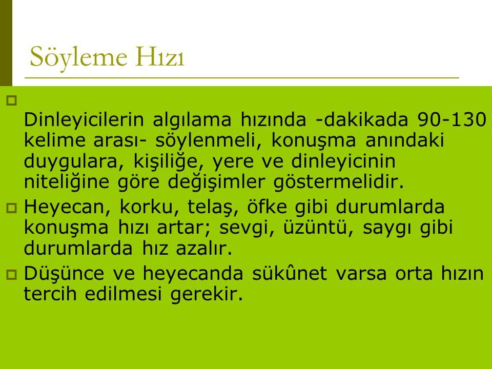 www.turkceciler.com Söyleme Hızı  Dinleyicilerin algılama hızında -dakikada 90-130 kelime arası- söylenmeli, konuşma anındaki duygulara, kişiliğe, ye