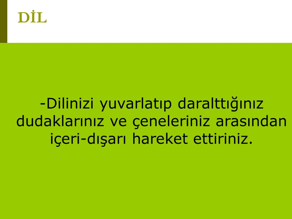 www.turkceciler.com DUDAK Dudaklarınızı kapatıp ileri uzatın ve dairesel hareketlerle hızla döndürün.