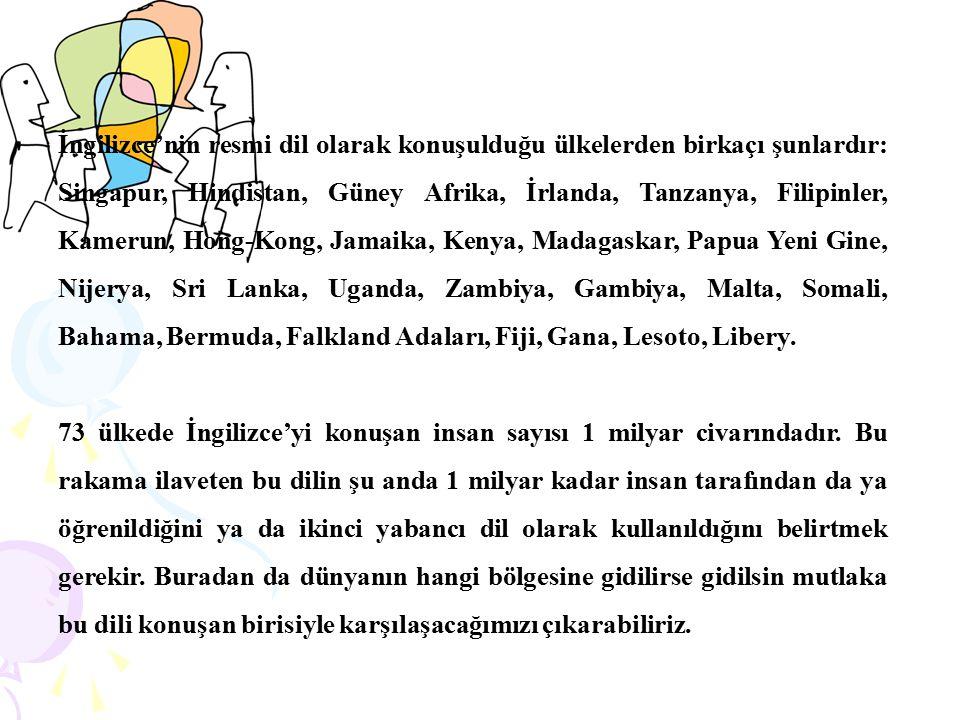 İngilizce'nin resmi dil olarak konuşulduğu ülkelerden birkaçı şunlardır: Singapur, Hindistan, Güney Afrika, İrlanda, Tanzanya, Filipinler, Kamerun, Ho
