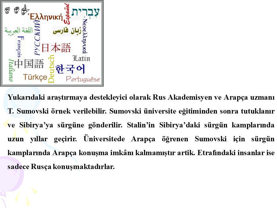 Yukarıdaki araştırmaya destekleyici olarak Rus Akademisyen ve Arapça uzmanı T. Sumovski örnek verilebilir. Sumovski üniversite eğitiminden sonra tutuk