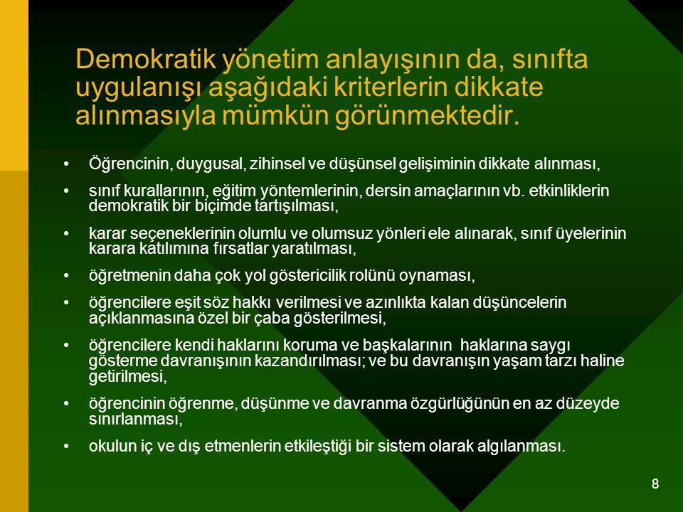 8 Demokratik yönetim anlayışının da, sınıfta uygulanışı aşağıdaki kriterlerin dikkate alınmasıyla mümkün görünmektedir. Öğrencinin, duygusal, zihinsel