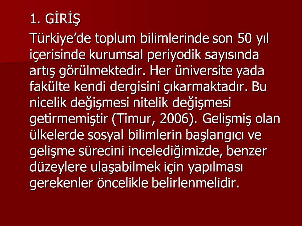 1. GİRİŞ Türkiye'de toplum bilimlerinde son 50 yıl içerisinde kurumsal periyodik sayısında artış görülmektedir. Her üniversite yada fakülte kendi derg