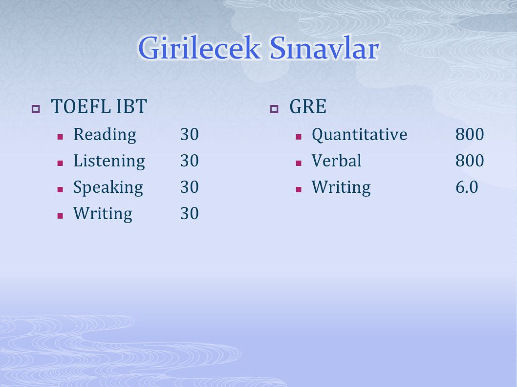  TOEFL IBT Reading30 Listening30 Speaking30 Writing30  GRE Quantitative800 Verbal800 Writing6.0