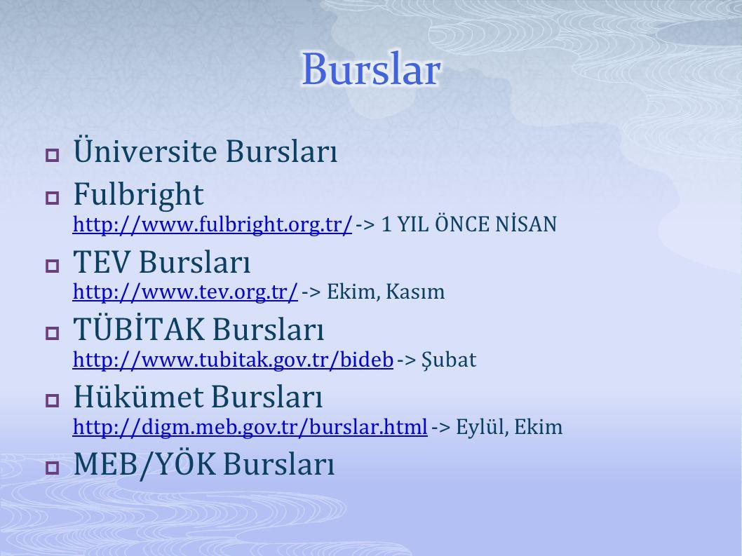  Üniversite Bursları  Fulbright http://www.fulbright.org.tr/ -> 1 YIL ÖNCE NİSAN http://www.fulbright.org.tr/  TEV Bursları http://www.tev.org.tr/ -> Ekim, Kasım http://www.tev.org.tr/  TÜBİTAK Bursları http://www.tubitak.gov.tr/bideb -> Şubat http://www.tubitak.gov.tr/bideb  Hükümet Bursları http://digm.meb.gov.tr/burslar.html -> Eylül, Ekim http://digm.meb.gov.tr/burslar.html  MEB/YÖK Bursları