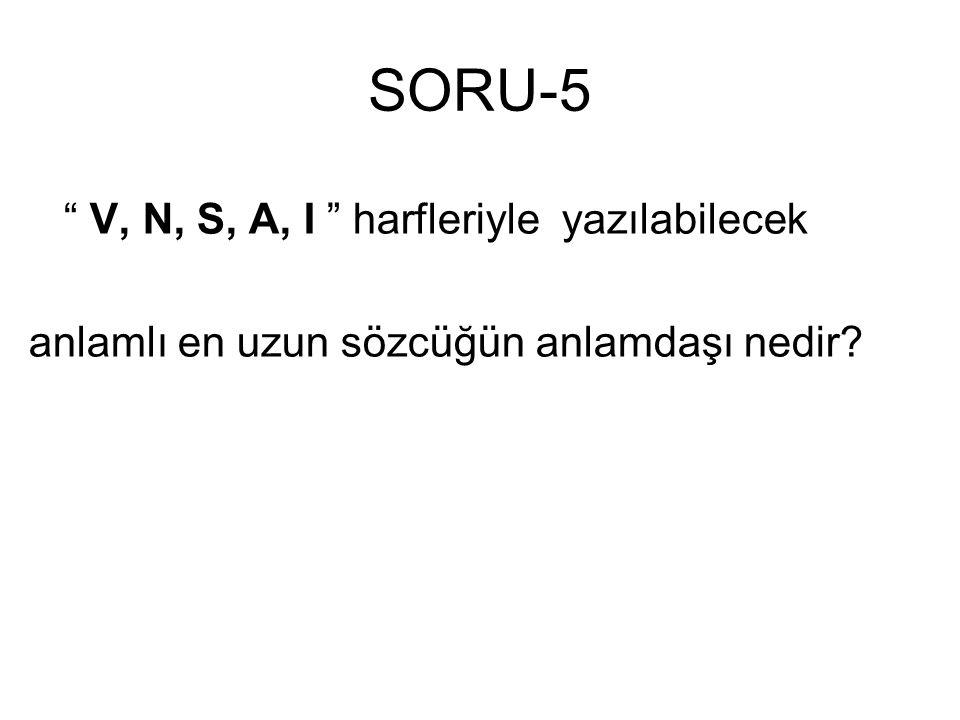 """SORU-5 """" V, N, S, A, I """" harfleriyle yazılabilecek anlamlı en uzun sözcüğün anlamdaşı nedir?"""