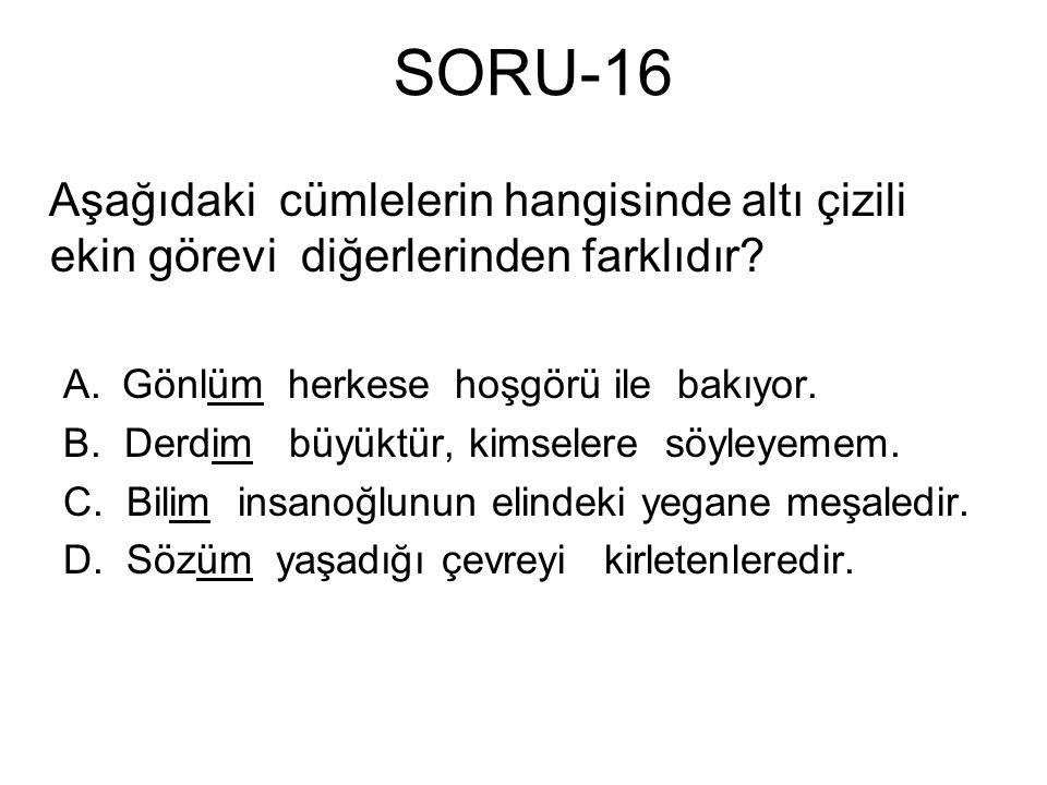 SORU-16 Aşağıdaki cümlelerin hangisinde altı çizili ekin görevi diğerlerinden farklıdır? A.Gönlüm herkese hoşgörü ile bakıyor. B. Derdim büyüktür, kim