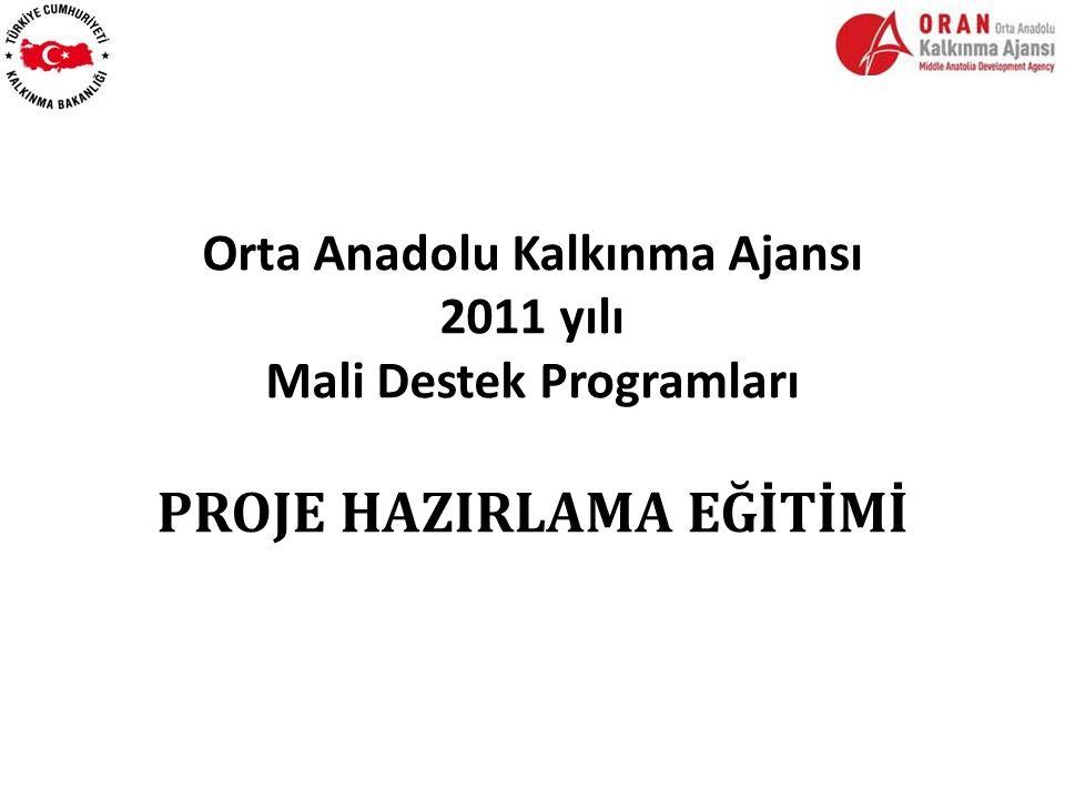 Orta Anadolu Kalkınma Ajansı 2011 yılı Mali Destek Programları PROJE HAZIRLAMA EĞİTİMİ