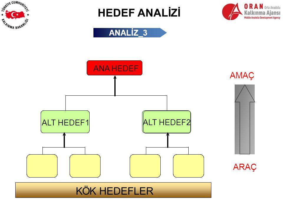 HEDEF ANALİZİ ANALİZ_3 ANA HEDEF ALT HEDEF1 ARAÇ AMAÇ ALT HEDEF2 KÖK HEDEFLER