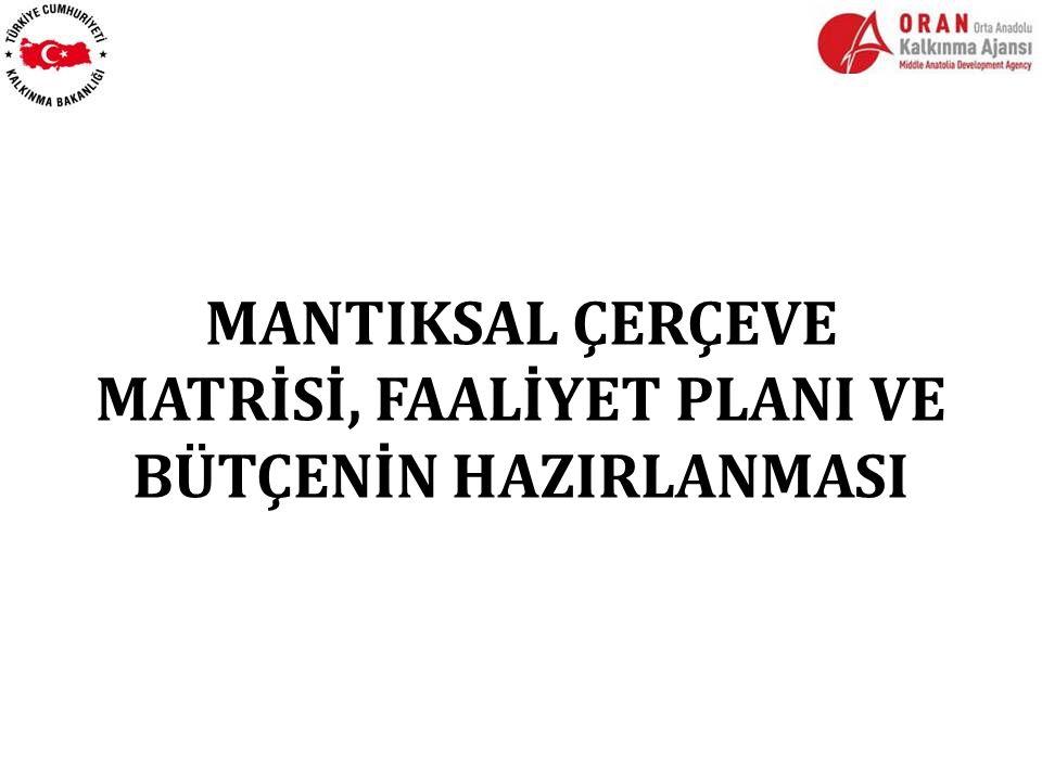 MANTIKSAL ÇERÇEVE MATRİSİ, FAALİYET PLANI VE BÜTÇENİN HAZIRLANMASI