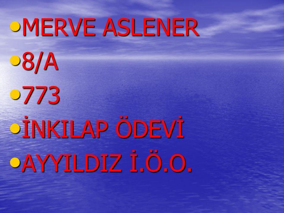 MERVE ASLENER MERVE ASLENER 8/A 8/A 773 773 İNKILAP ÖDEVİ İNKILAP ÖDEVİ AYYILDIZ İ.Ö.O. AYYILDIZ İ.Ö.O.