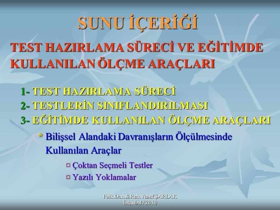 Psik.Dan.& Reh.Yusuf ŞARLAK İstanbul / 2010 Kökü soru kipinde olan maddeler: :Örnek: Verilenlerden hangisi öğrenci merkezli öğretim stratejilerinden biridir.