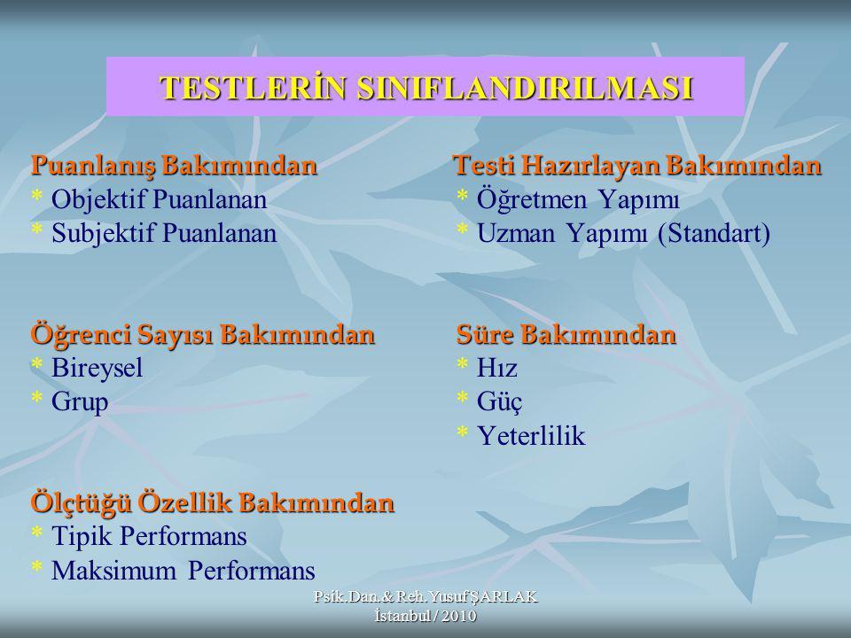 Psik.Dan.& Reh.Yusuf ŞARLAK İstanbul / 2010 Çoktan Seçmeli Maddelerin Puanlanması: 1- 2- 3- Çoktan Seçmeli Maddelerin Puanlanması: 1- Madde doğru cevaplandırılmışsa 1, yanlış cevaplandırılmış veya boş bırakılmışsa 0 puan verilerek puanlama 2- Maddeye, ölçtüğü davranışın önemiyle orantılı bir puan takdir etmek 3- Maddenin seçeneklerine, doğruluk derecesine göre farklı ağırlıklar vererek puanlamak Düzeltme Formülü; Düzeltme Formülü; Yanlış Sayısı Düzeltilmiş Puan = Doğru Sayısı Seçenek Sayısı 1