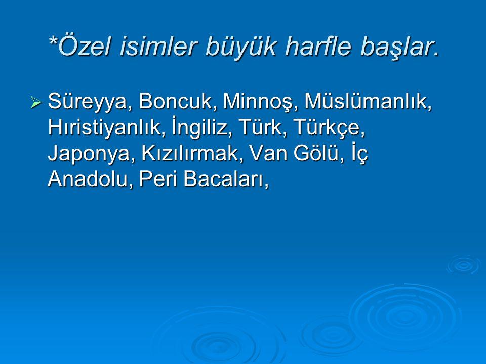 *Özel isimler büyük harfle başlar. SSSSüreyya, Boncuk, Minnoş, Müslümanlık, Hıristiyanlık, İngiliz, Türk, Türkçe, Japonya, Kızılırmak, Van Gölü, İ