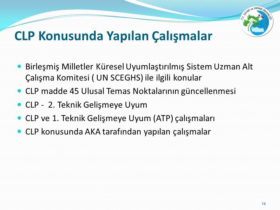 CLP Konusunda Yapılan Çalışmalar Birleşmiş Milletler Küresel Uyumlaştırılmış Sistem Uzman Alt Çalışma Komitesi ( UN SCEGHS) ile ilgili konular CLP madde 45 Ulusal Temas Noktalarının güncellenmesi CLP - 2.