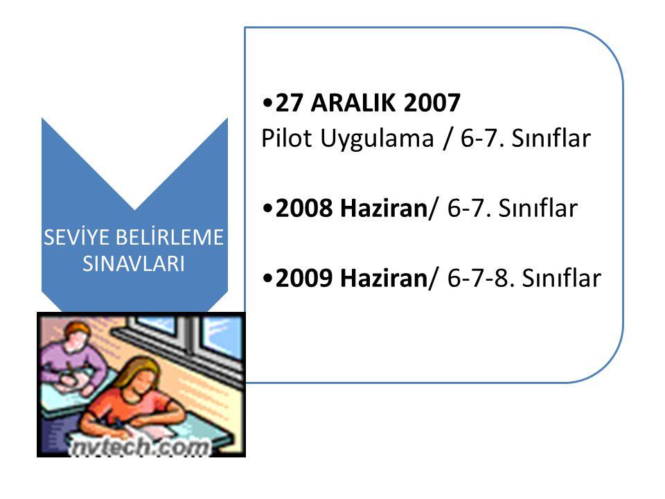 SEVİYE BELİRLEME SINAVLARI 27 ARALIK 2007 Pilot Uygulama / 6-7. Sınıflar 2008 Haziran/ 6-7. Sınıflar 2009 Haziran/ 6-7-8. Sınıflar