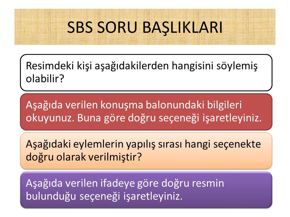 SBS SORU BAŞLIKLARI Resimdeki kişi aşağıdakilerden hangisini söylemiş olabilir? Aşağıda verilen konuşma balonundaki bilgileri okuyunuz. Buna göre doğr