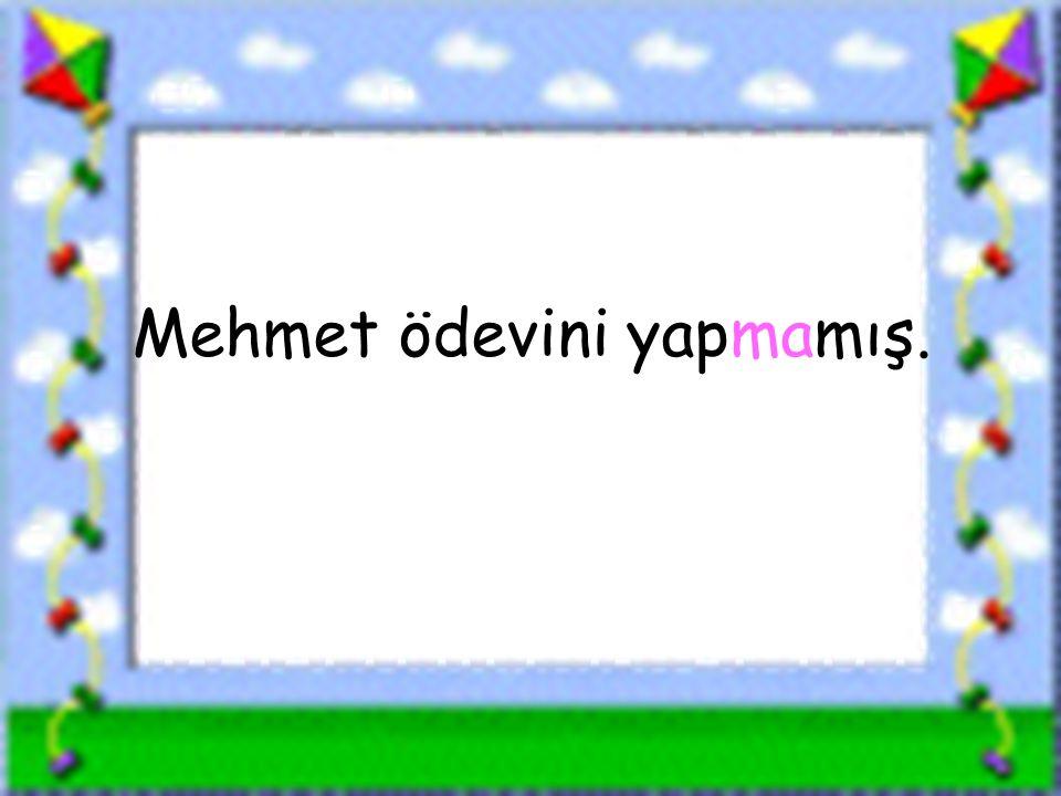 Mehmet ödevini yapmamış.