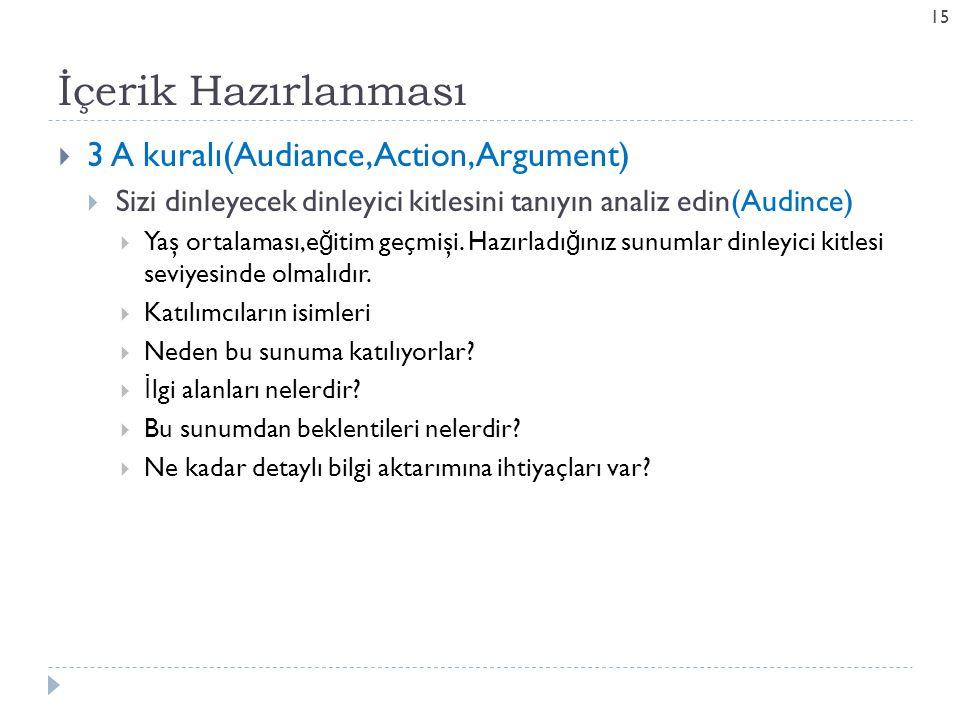 İçerik Hazırlanması  3 A kuralı(Audiance,Action, Argument)  Sizi dinleyecek dinleyici kitlesini tanıyın analiz edin(Audince)  Yaş ortalaması,e ğ it