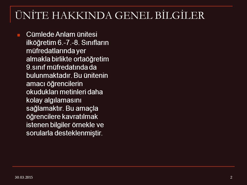 30.03.20152 ÜNİTE HAKKINDA GENEL BİLGİLER Cümlede Anlam ünitesi ilköğretim 6.-7.-8.