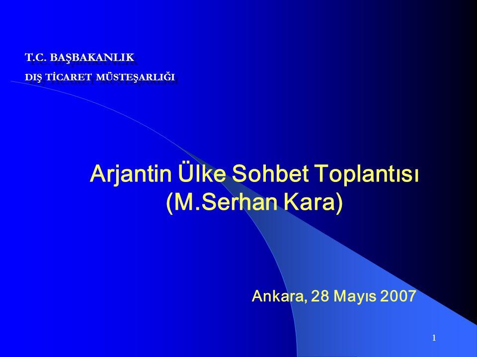1 Arjantin Ülke Sohbet Toplantısı (M.Serhan Kara) Ankara, 28 Mayıs 2007 T.C. BAŞBAKANLIK DIŞ TİCARET MÜSTEŞARLIĞI T.C. BAŞBAKANLIK DIŞ TİCARET MÜSTEŞA