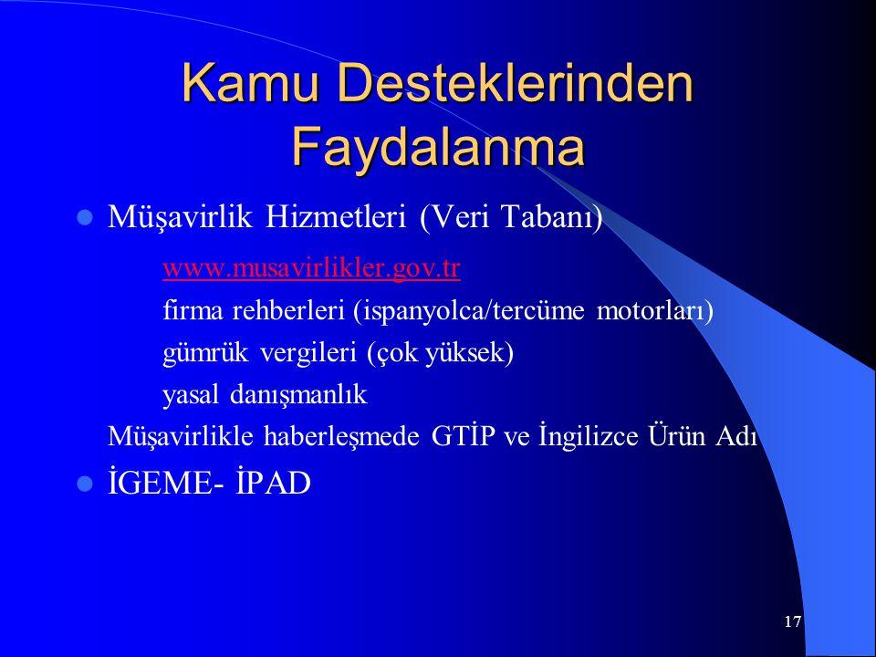 17 Kamu Desteklerinden Faydalanma Müşavirlik Hizmetleri (Veri Tabanı) www.musavirlikler.gov.tr firma rehberleri (ispanyolca/tercüme motorları) gümrük vergileri (çok yüksek) yasal danışmanlık Müşavirlikle haberleşmede GTİP ve İngilizce Ürün Adı İGEME- İPAD