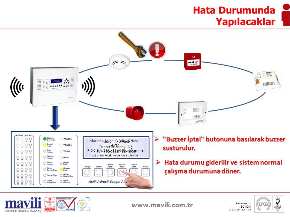 www.mavili.com.tr Assessed to ISO 9001 LPCB ref. no. 926 Hata Durumunda Yapılacaklar Alarmda Bölge: 0 Ddisi:0 Hata:1 ˟ HATA ˟ P:0 Ç:1 A:1 ML-12XX Oto-