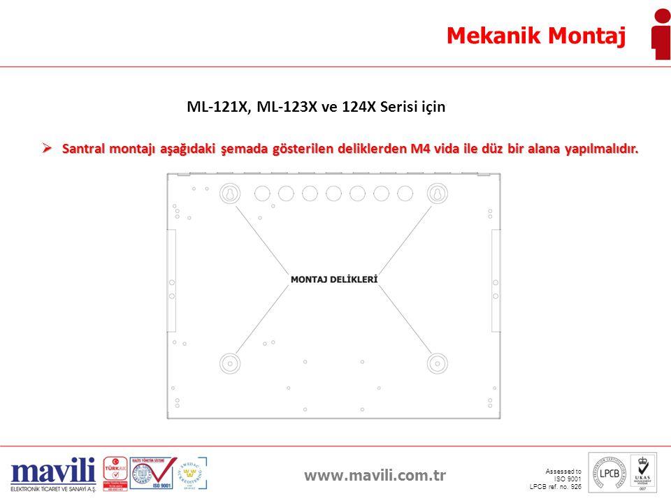 www.mavili.com.tr Assessed to ISO 9001 LPCB ref. no. 926 Mekanik Montaj ML-121X, ML-123X ve 124X Serisi için  Santral montajı aşağıdaki şemada göster